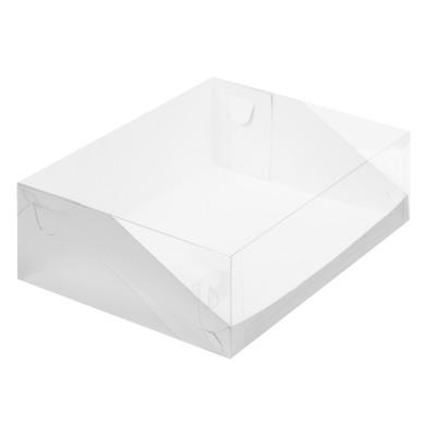 Коробка для торта 310x235x100 белая с прозрачной крышкой