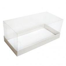 Коробка для рулета 255x120x105 белая с прозрачной крышкой