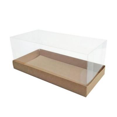 Коробка для рулета с прозрачной крышкой крафт