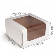 Коробка для торта 180x180x100 белая с окном