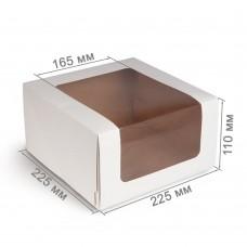 Коробка для торта 225x225x110 белая с окном