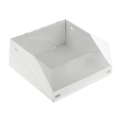 Коробка для торта 225x225x100 белая с прозрачной крышкой