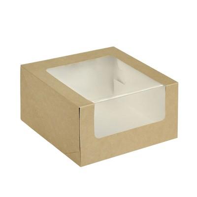 Коробка для торта 180x180x100 крафт с окном