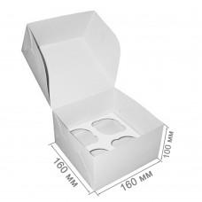 Коробка для 4 капкейков белая