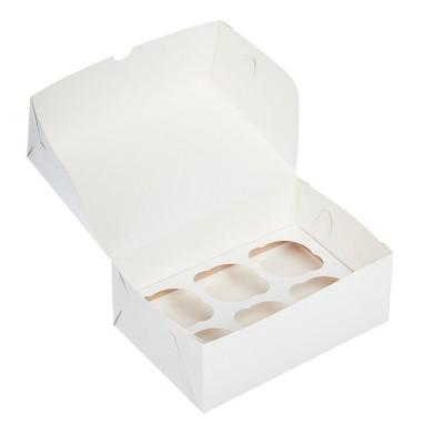 Коробка для 6 капкейков белая