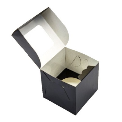 Коробка для 1 капкейка черная с окном