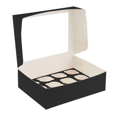 Коробка для 12 капкейков черная с окном