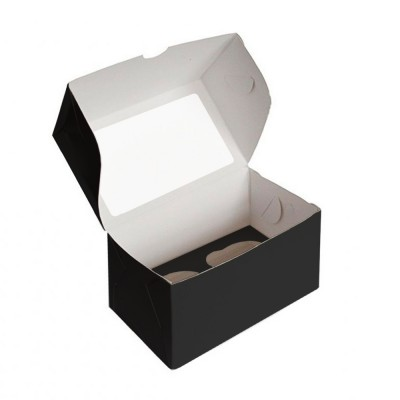 Коробка для 2 капкейков черная с окном