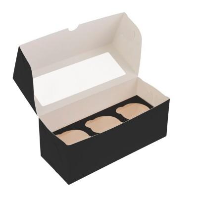 Коробка для 3 капкейков черная с окном