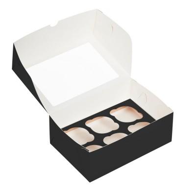 Коробка для 6 капкейков черная с окном