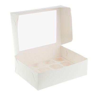 Коробка для 12 капкейков белая с окном