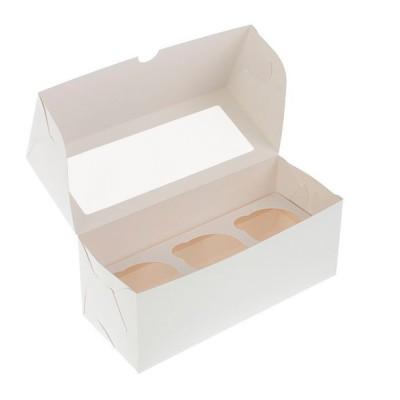 Коробка для 3 капкейков белая с окном