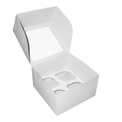 Коробка для 4 капкейков белая с окном