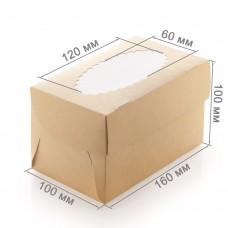 Коробка для 2 капкейков «ECO MUF 2» крафт