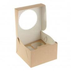 Коробка для 4 капкейков «ECO MUF 4» крафт