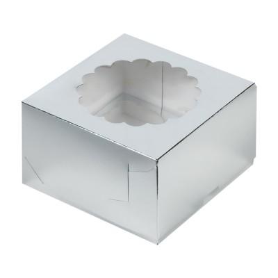 Коробка для 4 капкейков серебряная с окном
