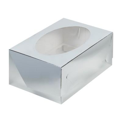 Коробка для 6 капкейков серебряная с окном