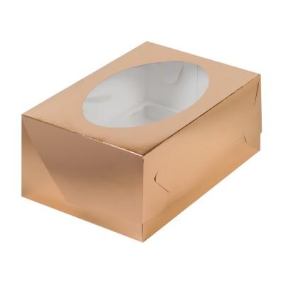 Коробка для 6 капкейков золотая с окном
