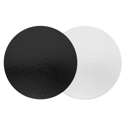 Подложка для торта круглая усиленная 3,2 (черный-белый жемчуг)