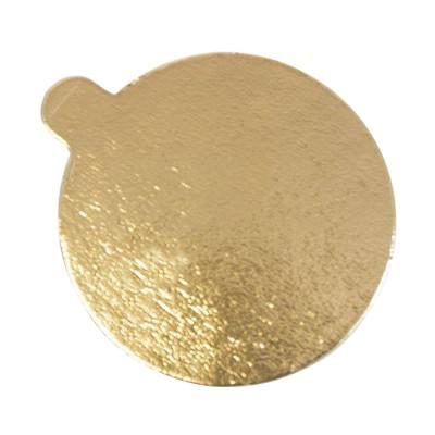 Подложка для торта круглая с держателем 0,8 (золото-золото)