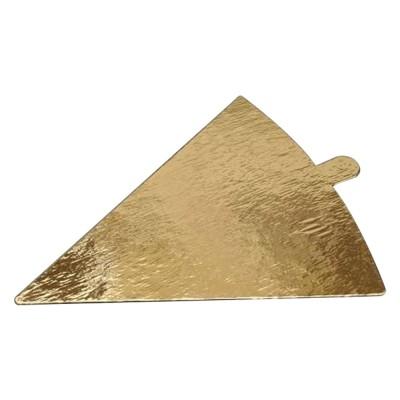 Подложка для торта треугольная с держателем 0.8 (120x90) (золото-золото)