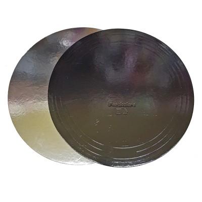 Подложка для торта круглая усиленная 1,5 (черная-серебро)