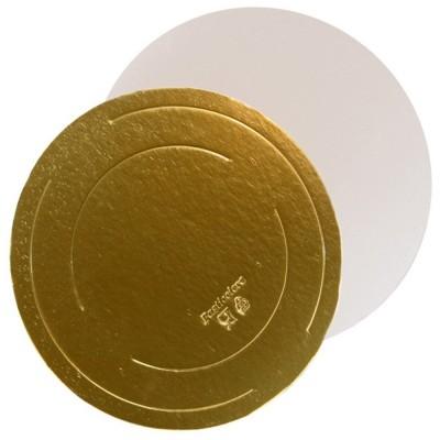 Подложка для торта круглая усиленная 2,5 (золото-жемчуг)