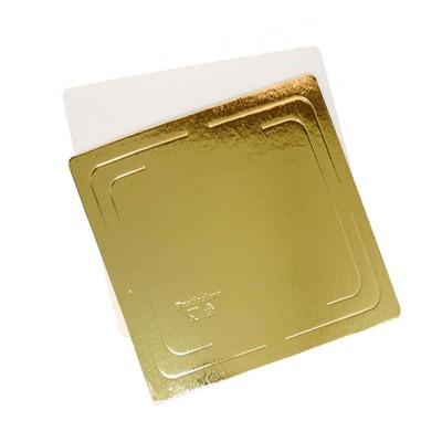 Подложка для торта квадратная усиленная 3,2 (золото-жемчуг)