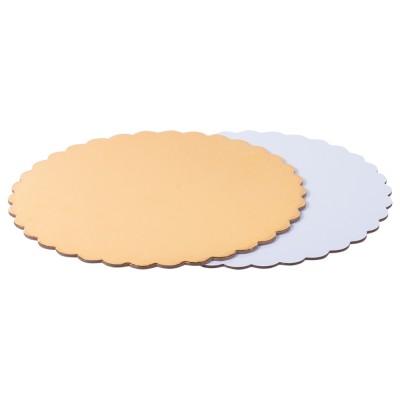 Подложка для торта круглая усиленная 3,2 фигурная (золото-жемчуг)