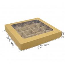 Коробка для 16 конфет 200x200x30 с окном крафт