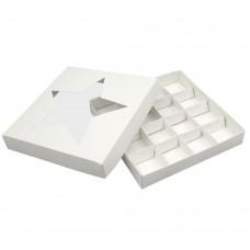 Коробка для 16 конфет 200x200x30 с окном «Звезда» белая