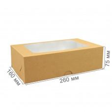 Коробка для зефира 260x160x75 с окном крафт