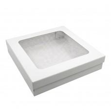 Коробка для подарочных наборов 370x370x80 мм с окном белая