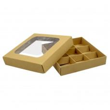 Коробка для 9 конфет 150x150x30 с окном крафт