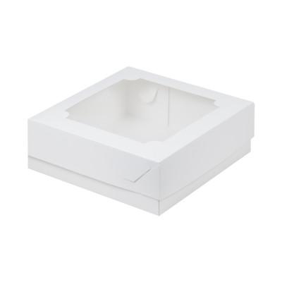 Коробка для зефира 200x200x70 с окном белая