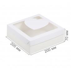 Коробка для зефира 200x200x70 с окном «Сердце» белая
